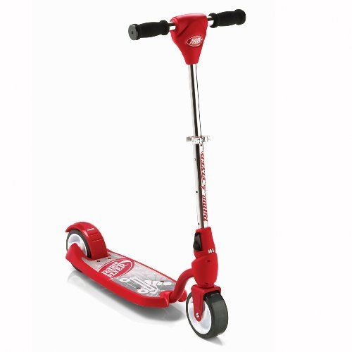 Radio Flyer Ez - Rider Scooter Red by Radio Flyer. $59.99. Stay balanced with the easiest to ride 2 wheel scooter for ages 3 to 8 years. Handle folds for easy storage. Easy Foot brake. Extra wide 2 inch wide wheels for better balance. Lower deck for stability. From the Manufacturer                The new Radio Flyer EZ-Rider is the first and only scooter made specifically for intermediate level riders. This patent pending scooter helps younger children master balance while allow...