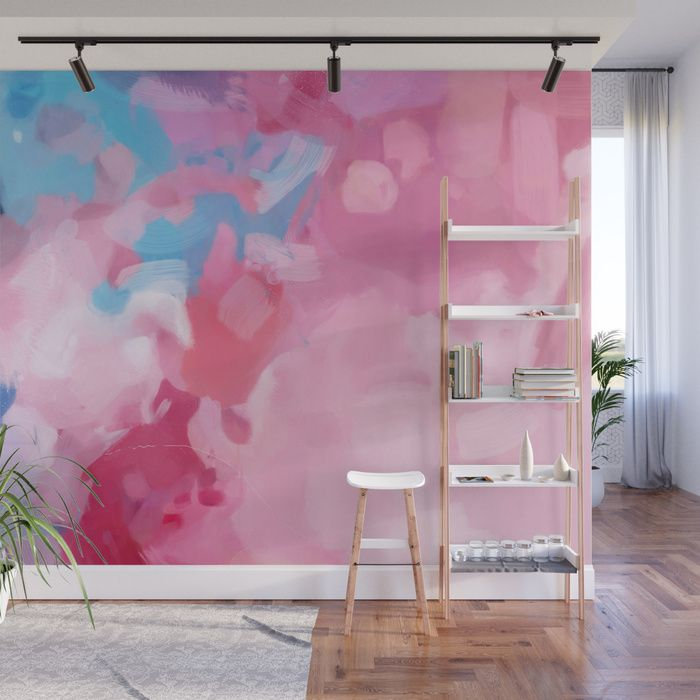 Alma Pink And Blue Abstract Wall Mural Painting Art Entryway Pink Blue Abstractart Wallpaper Wall Covering E Wall Murals Ombre Wall Beach Wall Murals