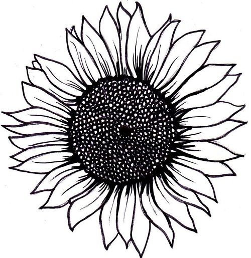 Simple Sunflower Tattoo Layout
