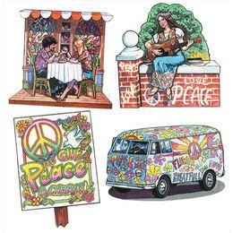 Décorations murales - Années 60 et 70 - Peace and Love (lot de 4)  Peace and love !