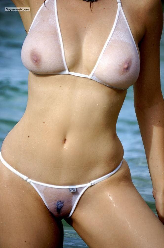 Transparent Sheer Seethrough Swimsuit Hairy Pussy Beach