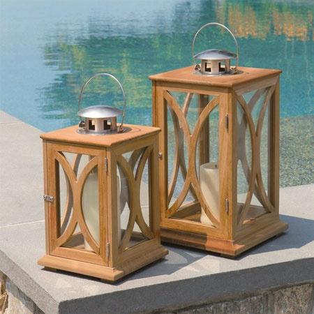 Teak Candle Lantern - Fiori Decorative Teak Candle Holder Lantern - Country Casual