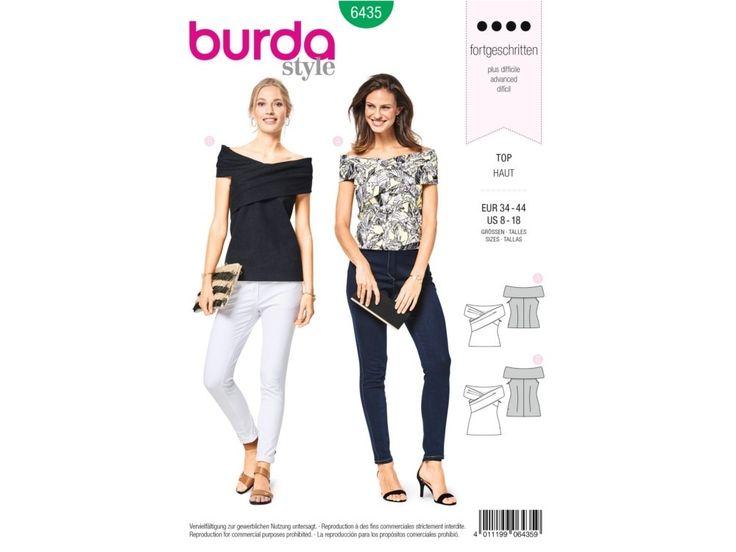 Sewing pattern wrapover top , Burda 6435   tissus-hemmers.fr