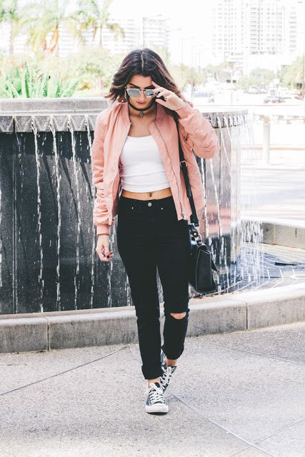 bomber jacket outfit how to style converse