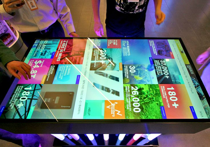 An interactive multitouch table and digital signage information column has gone live at Bloomberg's NYC headquarters. Both displays stream real-time financial news and information