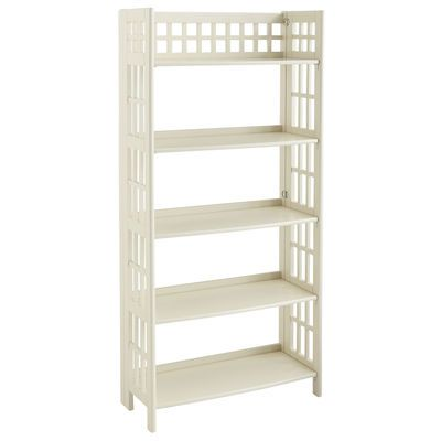 Storage and display space, in an antique white wood design that's pretty enough for nearly any room and folds up for easy moving. What will they think of next? A low folding shelf? Oh wait.