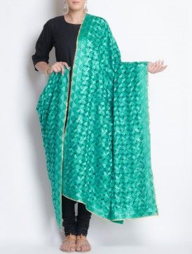 Green-Blue Crepe Phulkari Dupatta