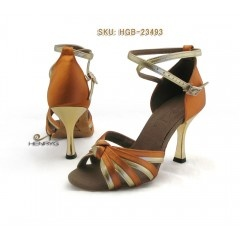 HenryG™ Women Bronze Satin w/ Gold Trim. Latin Salsa Ballroom Dance Shoes, Golden Heel. HGB-23493 (is)    This is a new arrival, you will LOVE those salsa dance shoes women design. Bronze and gold straps are smartly mixed making a knot on your toes, attached by a precious rhinestones buckle. The golden heel just make the all model so luxurious.  http://henrygdance.com/henrygtm-lady-bronze-satin-w-gold-trim-latin-salsa-ballroom-dance-shoes-high-golden-heel-hgb-23493.html