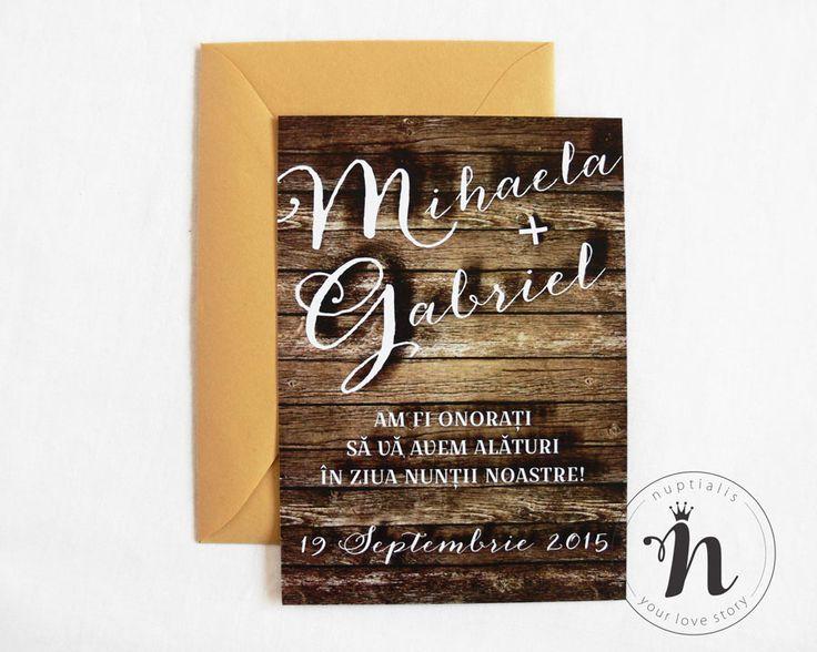 """Invitatii nunta moderne, rustice, cu fundal de lemn – """"MARTINA"""""""