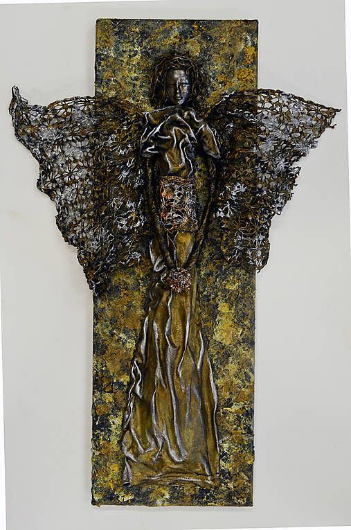 ednahandmade / obraz anjela - mosadzno-zemitý