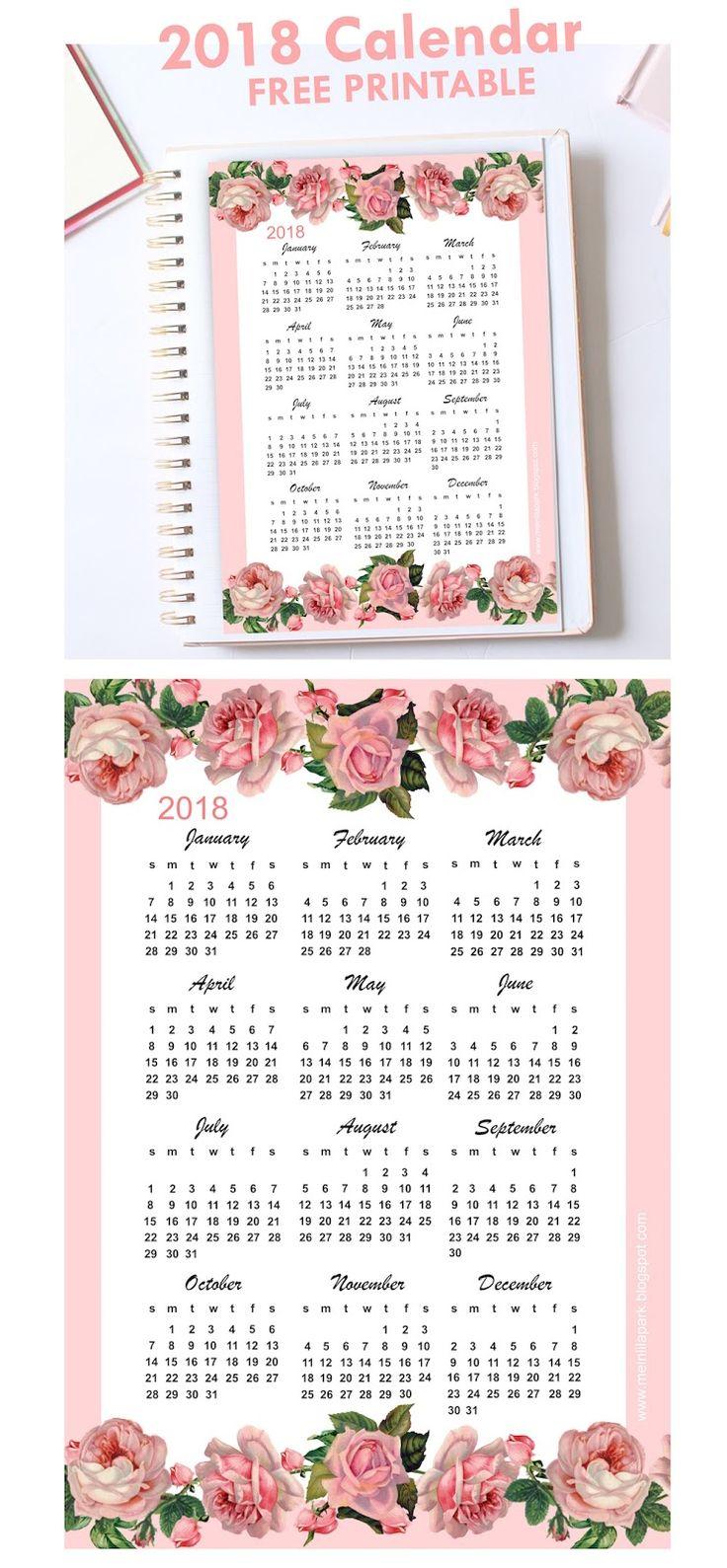 FREE printable 2018 rose calendar