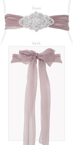 Silk Crystal Sash Dark Mauve by Tiffany Rose