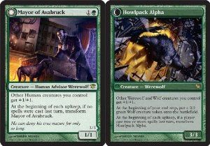 Magic: the Gathering - Mayor of Avabruck // Howlpack Alpha - Innistrad by Wizards of the Coast. $3.99. This is of Rare rarity.. A single individual card from the Magic: the Gathering (MTG) trading and collectible card game (TCG/CCG).. From the Innistrad set.. Magic: the Gathering is a collectible card game created by Richard Garfield. In Magic, you play the role of a planeswalker who fights other planeswalkers for glory, knowledge, and conquest. Your deck of cards represents al...