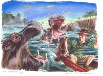'Uncle Eddie and the Hippos' signed limited edition print by Kevin Burgemeestre, from his picture book 'Uncle Eddie and the Hippos'. Available from Books Illustrated. http://www.booksillustrated.com.au/bi_prints_indiv.php?id=59