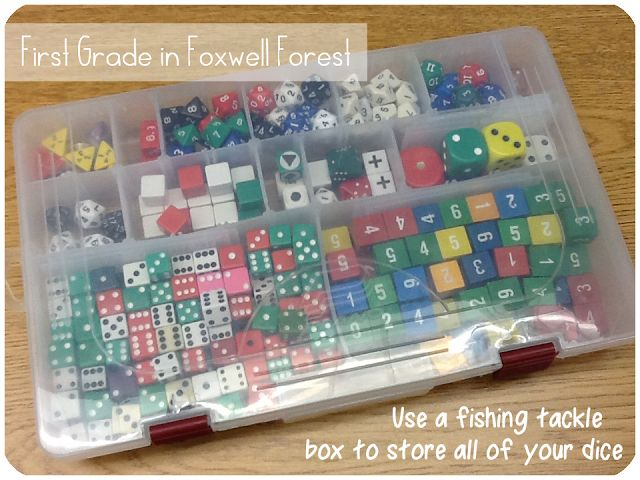Use a fishing tackle box to store dice, manipulatives, and those other little things that are hard to store neatly.