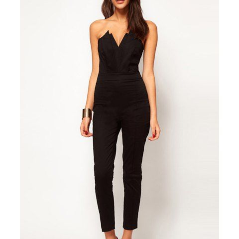 Strapless V Neck Solid Color Backless Casual Women S Jumpsuit Black Strapless Jumpsuit Closet