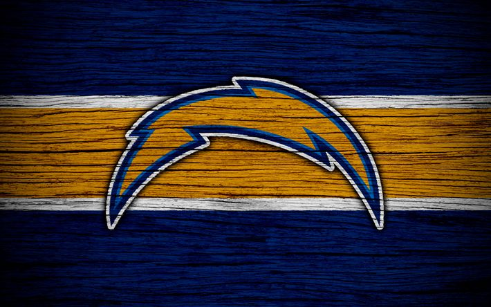 Download wallpapers Los Angeles Chargers, NFL, American Conference, 4k, wooden texture, american football, logo, emblem, Los Angeles, California, USA, National Football League