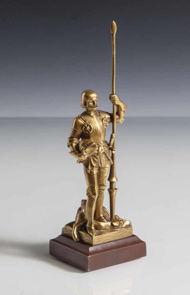 Müller, H. (19./20. Jahrhundert), Heiliger Georg, Bronze, verg., rücks. sign., H. ca. 15,5 cm.