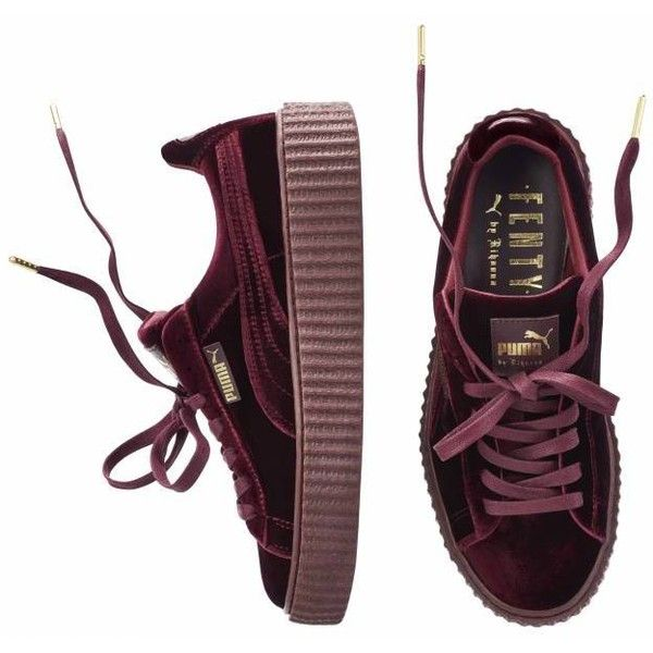 "Women Rihanna Fenty Puma Creeper ""Velvet"" PRE-ORDER ($220) ❤ liked on Polyvore featuring shoes, evening shoes, velvet shoes, creeper shoes, cocktail shoes and special occasion shoes"