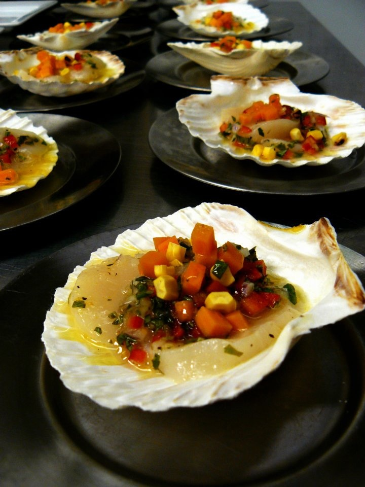 Scallop ceviche with roasted corn and sweet potatoes http://www ...