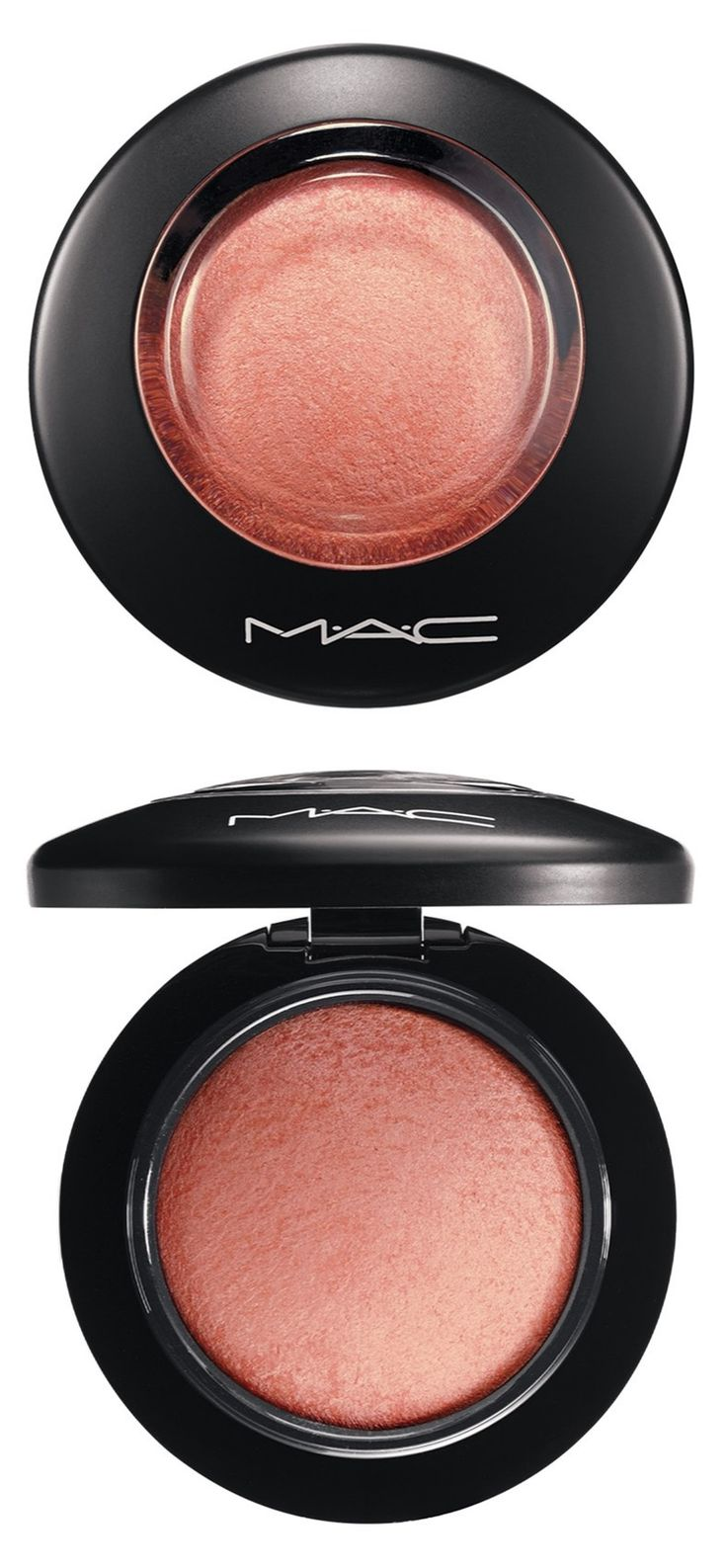Using this coral MAC blush to enhance cheekbones with luminous, pearlized shimmer.