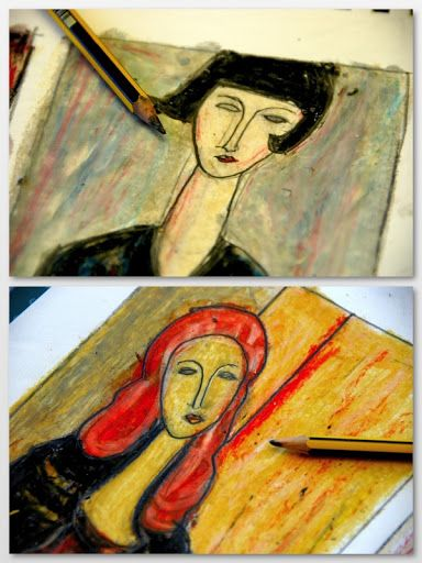 making Modigliani-style portraits with oil pastels & baby oil