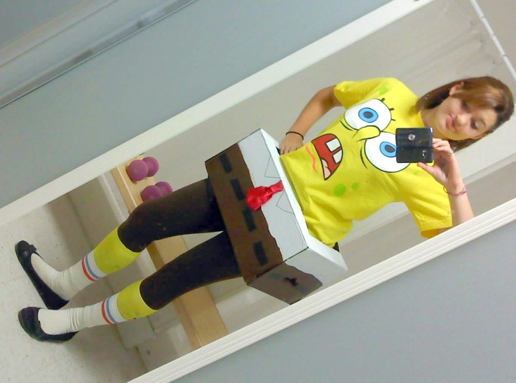 This is my cute and simple Spongebob costume I made. It consists of a box I cut and painted, a Walmart spongebob shirt, brown leggings, yellow socks (optional), and white socks. You could wear black tennis shoes, but for myself, I chose black slip on shoes. =)