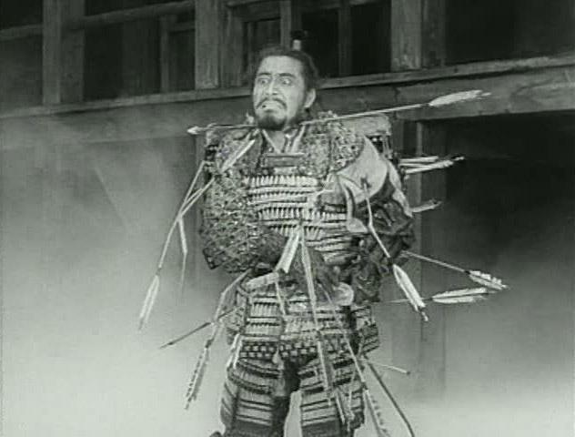 "Toshiro Mifune's death scene in director Akira Kurosawa's ""Throne of Blood"", 1957; adapted from Shakespeare's ""Macbeth""."