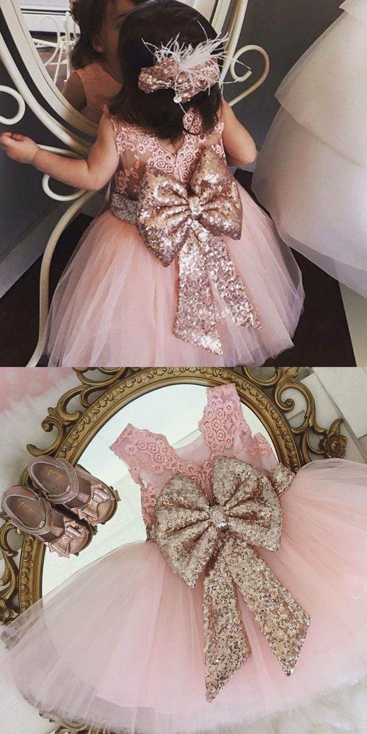 pink flower girl dresses,tulle flower girl dress with sequined bodice