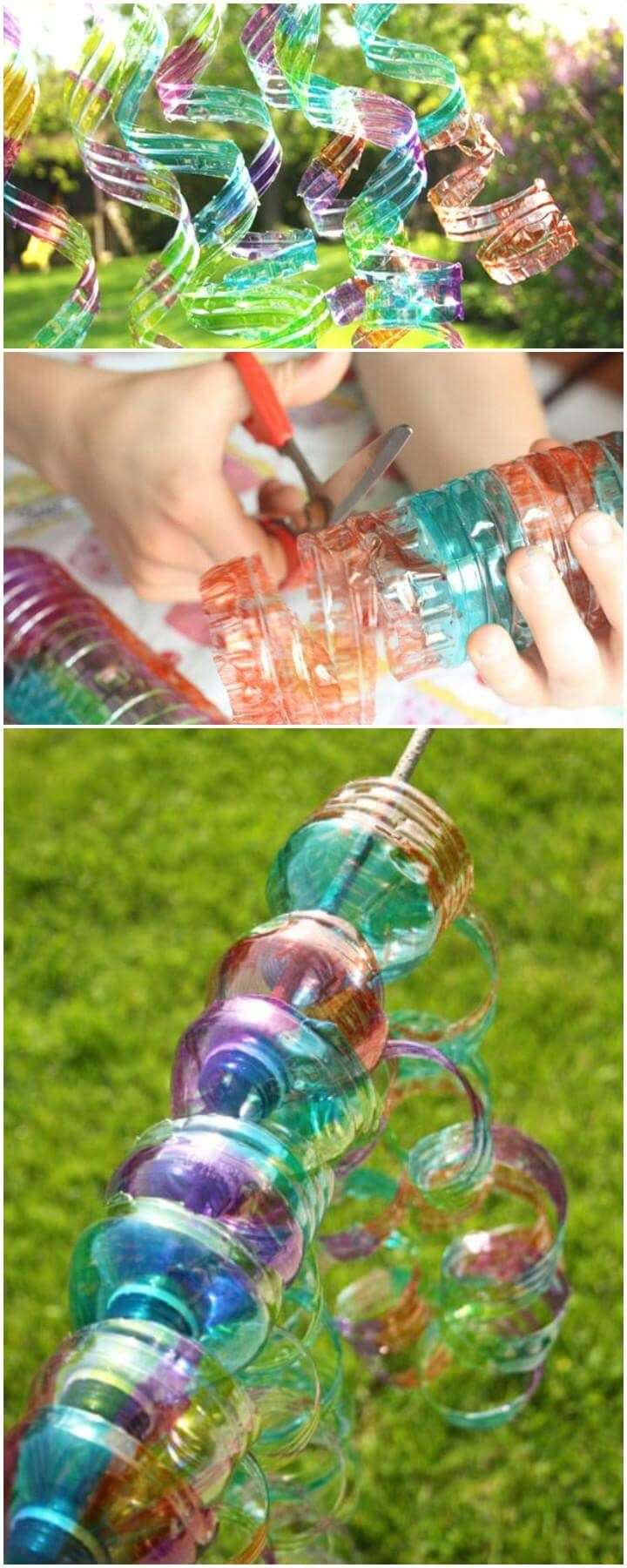 Diy Plastic Water Bottle Wind Spirals Water Bottle Crafts Water