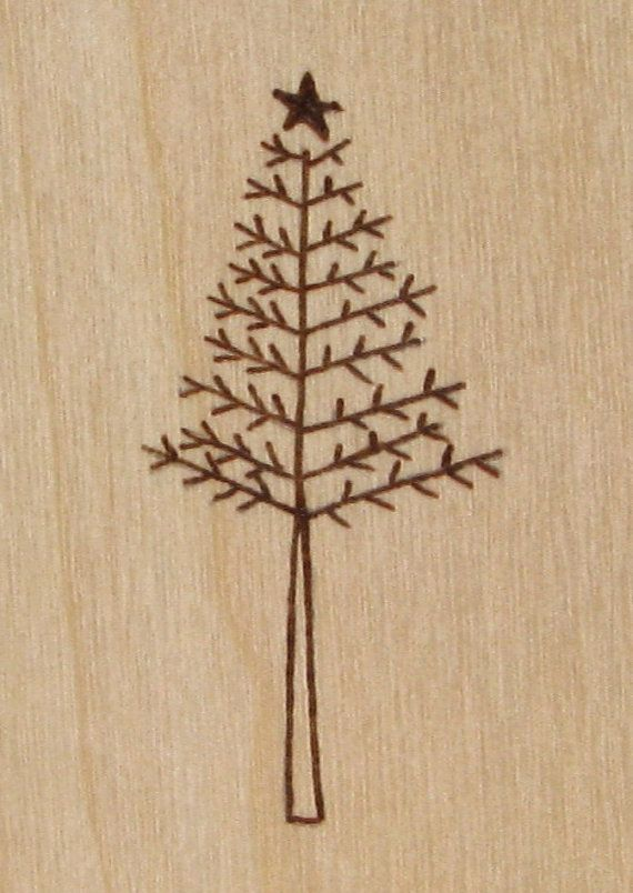 Christmas Tree Cards Wood Pyrography Christmas by bkinspired