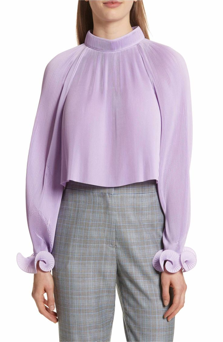 Tibi Pleated Crop Top | Vegan Fashion | Vegan Style | Spring 18 Trends | Lavender | Plisse Pleating | Spring Style