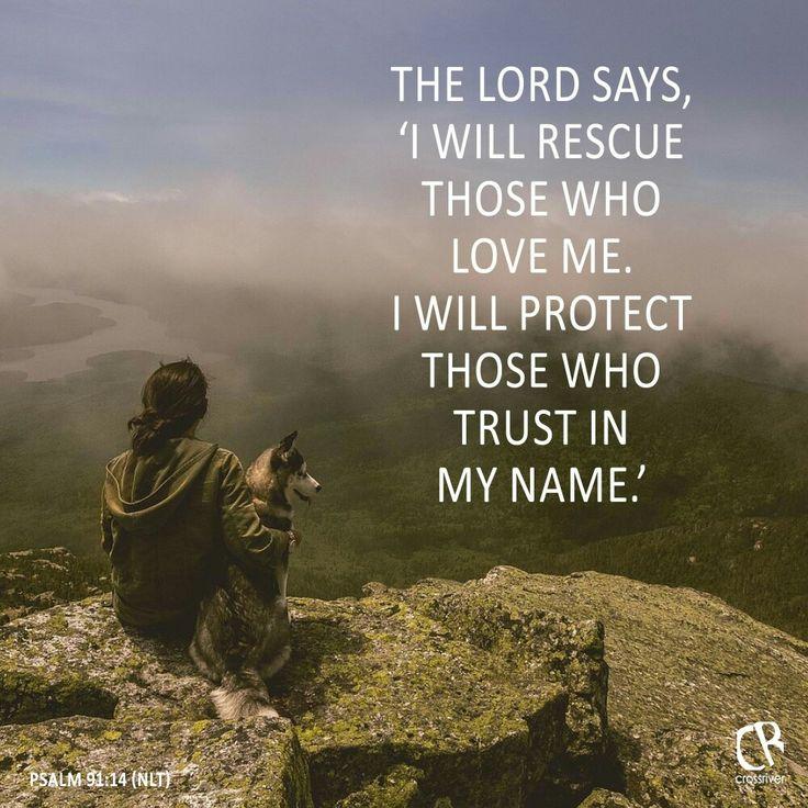 """Joka Korkeimman suojassa istuu ja Kaikkivaltiaan varjossa yöpyy, se sanoo Herralle: """"Sinä olet minun turvani ja linnani, minun Jumalani, johon minä luotan."""" """"Koska hän on kiintynyt minuun, minä pelastan hänet. Minä vien hänet turvaan, koska hän tuntee minun nimeni. Hän huutaa minua avukseen, ja minä vastaan hänelle. Minä olen hänen kanssaan ahdistuksessa. Minä vapautan hänet ja kunnioitan häntä. Psalmit 91:1-2, 14-15 FINRK"""