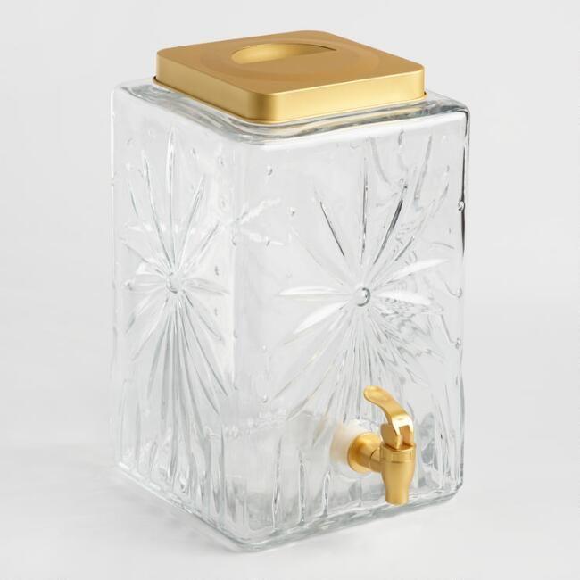 Retro Cut Glass Starburst Drink Dispenser - v2