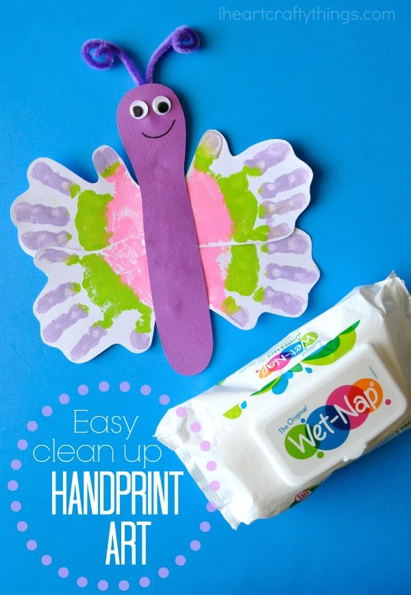 263 best butterfly arts and crafts for kids images on pinterest easy clean up handprint butterfly craft solutioingenieria Images