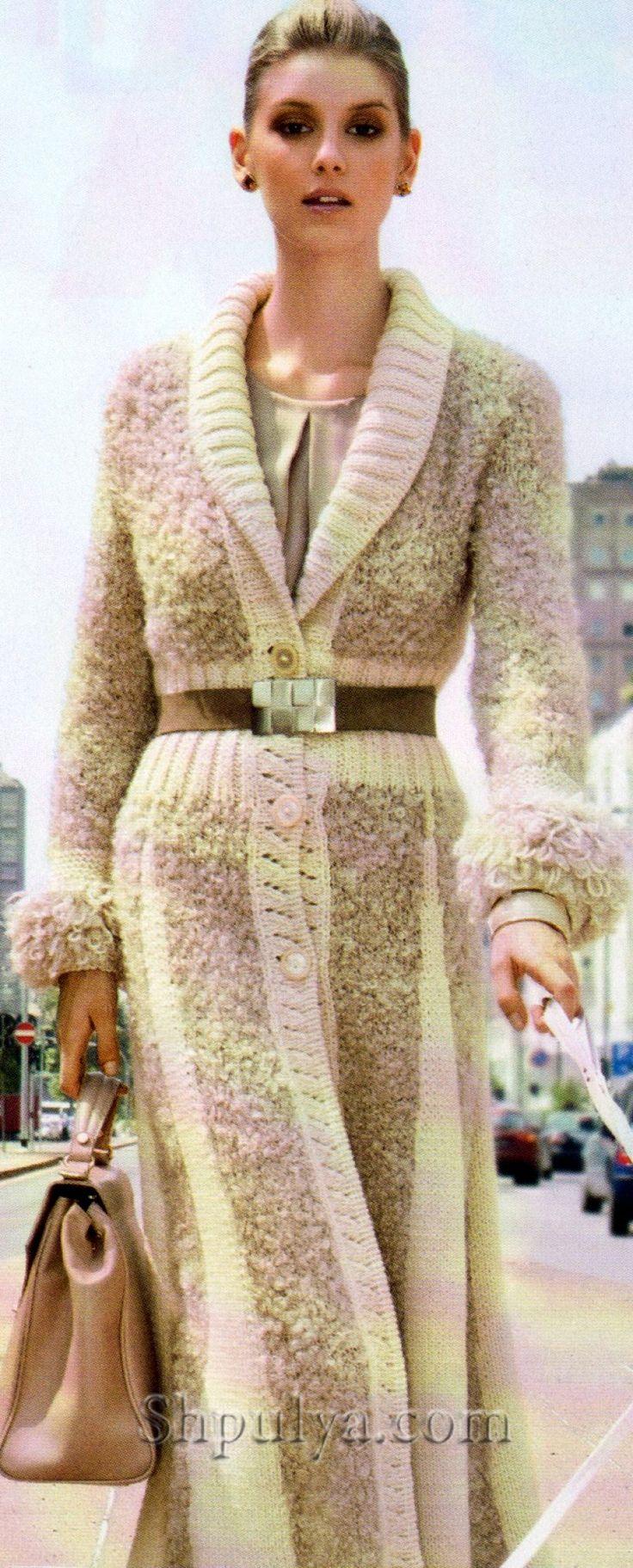 www.SHPULYA.com - Стильное длинное пальто из шерстяной пряжи и пряжи букле