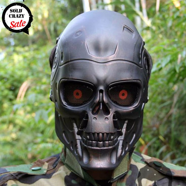 Ear-protective Terminator Full Face Skull Mask Airsoft Paintball for Halloween Cosplay Party CS Wargame Field Game Movie Prop