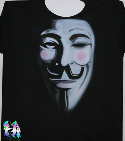 Anonymous Australia, Guy Fawkes, Airbrushed Shirt http://www.forbiddenart.com.au