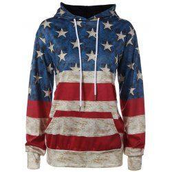 American Flag Printed Loose Hoodie