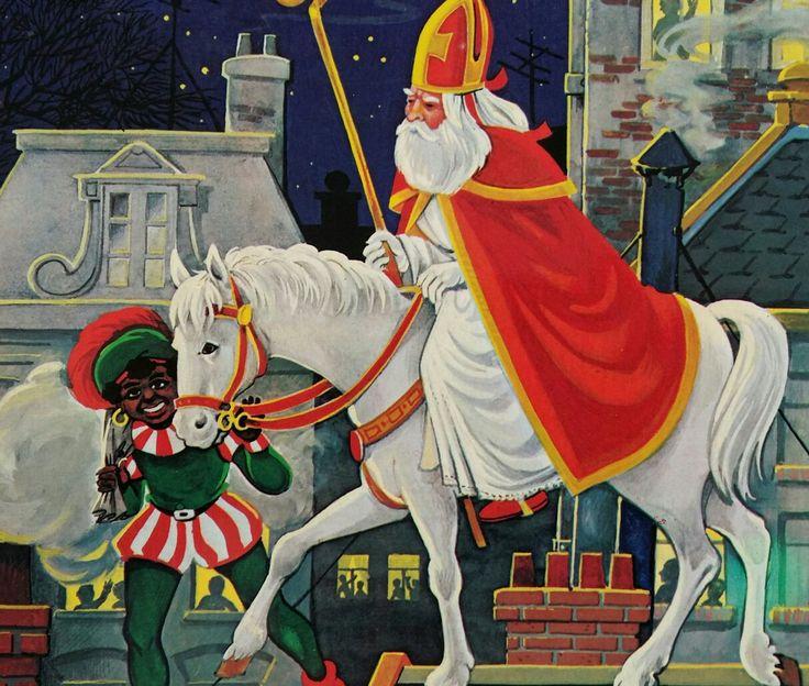 Sinterklaas en Piet op de hoge daken