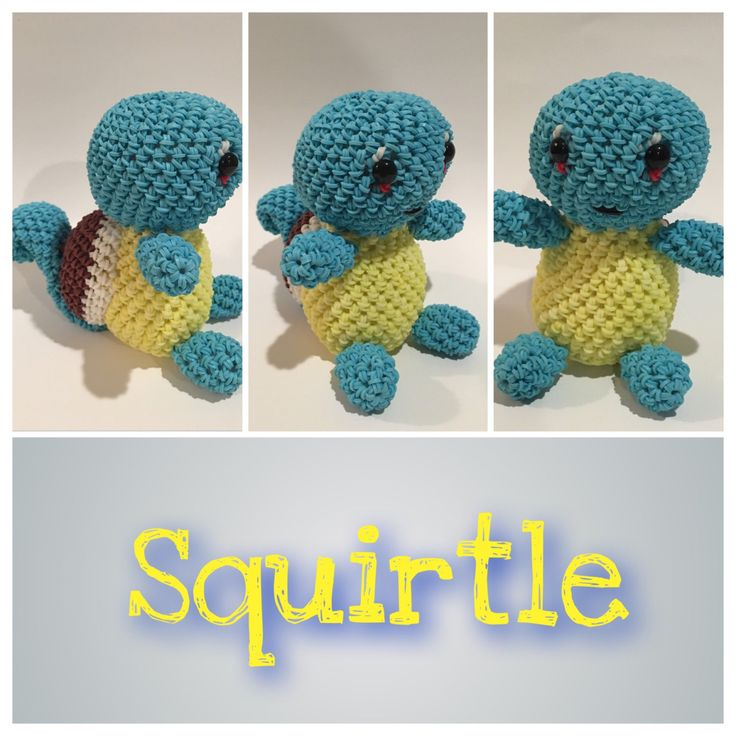 Squirtle (Pokémon) Rubber Band Figure, Rainbow Loom Loomigurumi, Rainbow Loom Character by BBLNCreations on Etsy  Loomigurumi Amigurumi Rainbow Loom