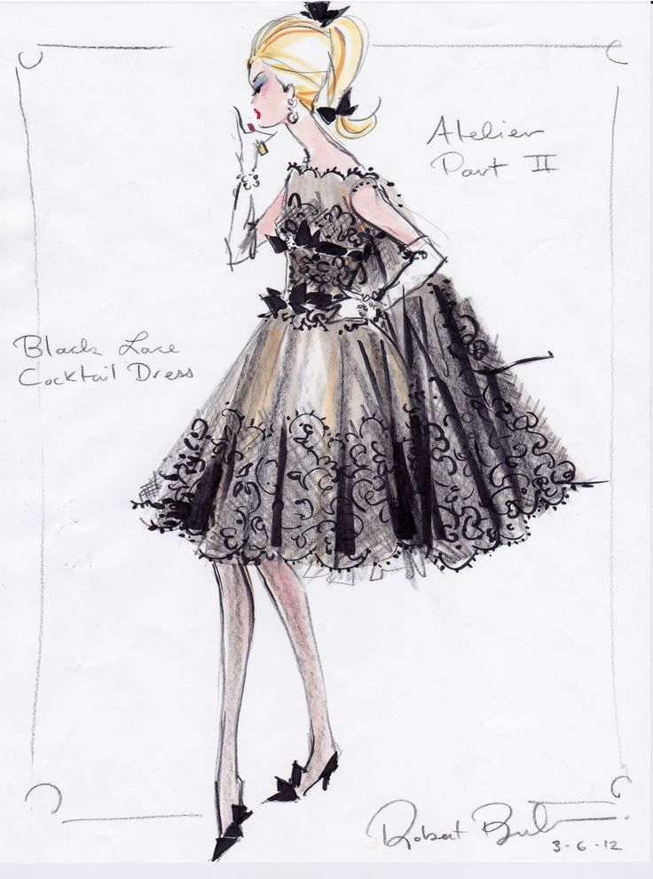 BFMC black lace cocktail dress rough sketch