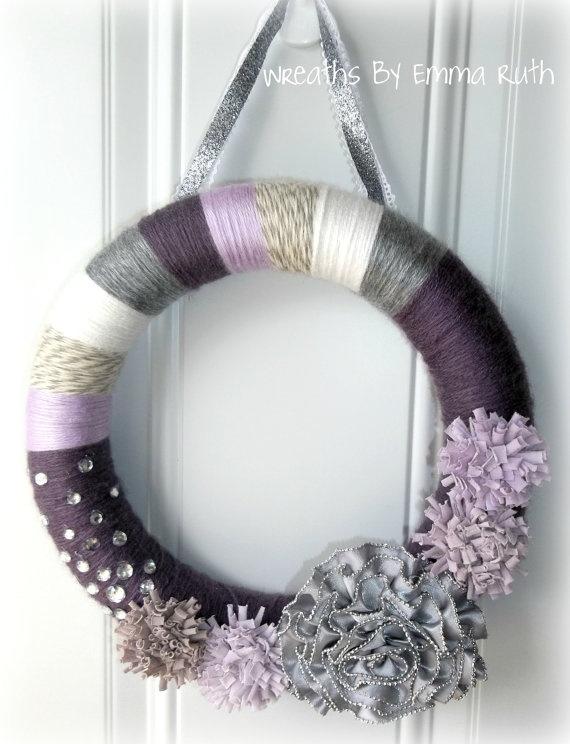 Purple Yarn Wreath with Zipper Flower by WreathsByEmmaRuth on Etsy, $20.00