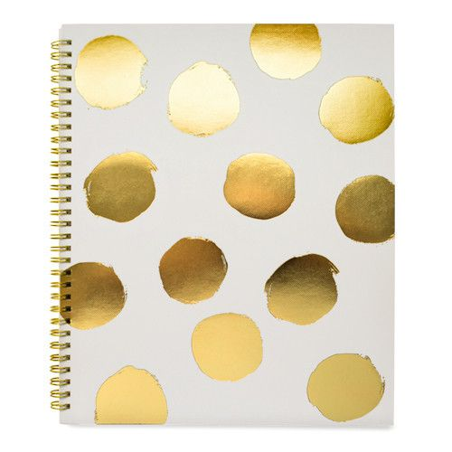 Color pale grey + gold foil Page Type lined Number of Pages 100 Dimensions 11 x 9 inches Our Large Painted Dot Notebook in grey is spiral bound with big gold foil polka dots on a pale grey background.