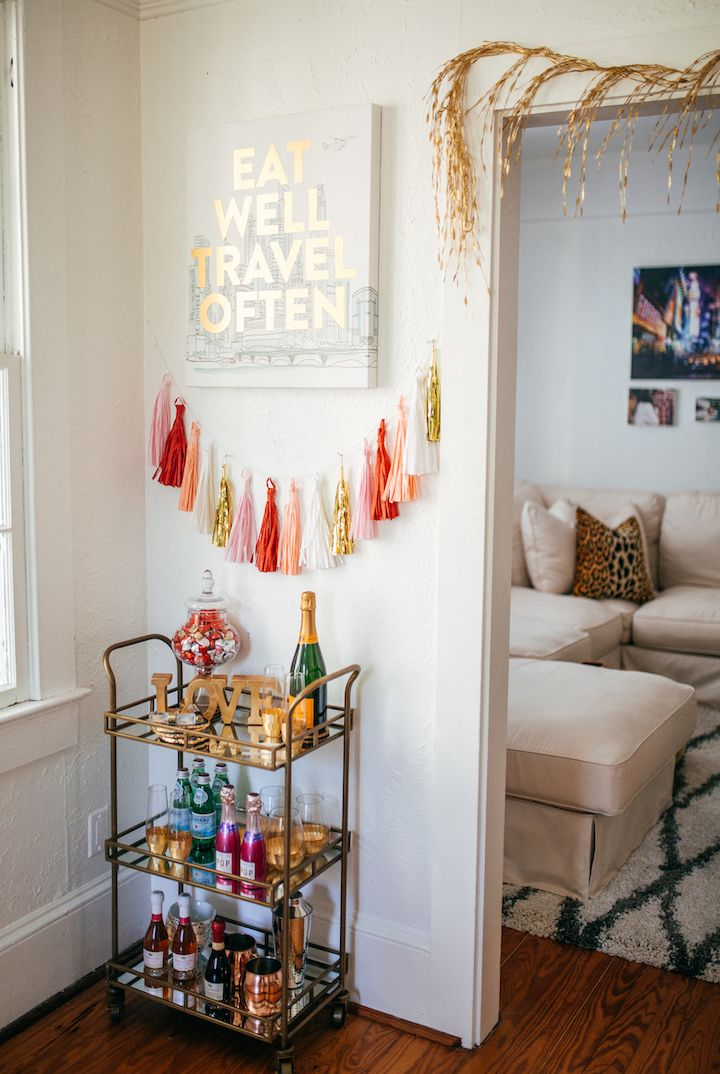 haute off the rack, world market home decor, hot pink chairs, valentine's day inspiration, dining room inspiration, date night ideas, home design, pho, spring rolls, how to decorate your mantle, how to decorate your bar cart, bar cart accessories,
