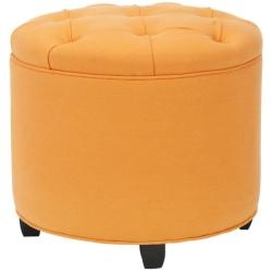Round Orange Ottoman Is Tufted For Elegant Styling U0026 Comfort, Seating Lifts  To Reveal Nice