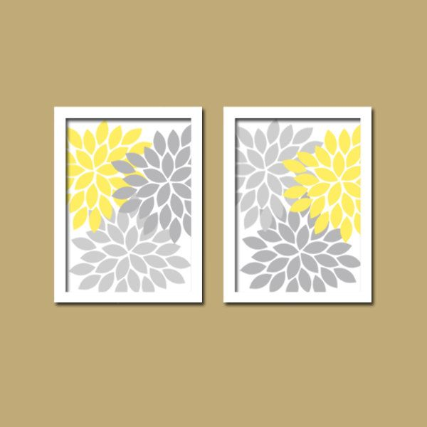 Bold Colorful Yellow Grey Gray Floral Flower Burst Set Of 2 Prints Wall Decor Abstract Art