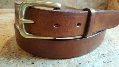 """(No 107 )  36"""" Trouser size 1  1/4"""" wide Oak Bark Tan Leather Belt"""