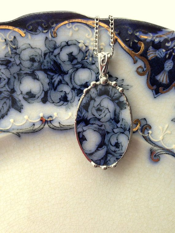 Broken china jewelry antique 1880's Flow Blue rose china - one of a kind
