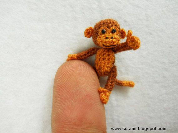 lovely brown monkey tiny crocheted monkeys 1 inch scale made to order pinterest miniatur. Black Bedroom Furniture Sets. Home Design Ideas